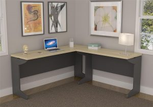 Altra Pursuit L-Shaped Desk Bundle, Cherry/Gray