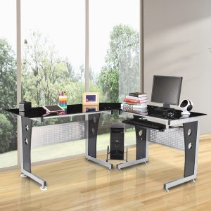 "HomCom 64"" Modern L-Shaped Dark Glasstop Desk - Black"