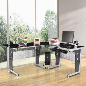 "HomCom 64"" Modern L-Shaped Dark Glasstop Desk - Black"