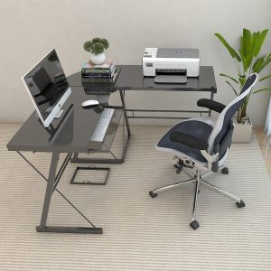 Ryan Rove Madison 3-Piece Corner L-Shaped Computer Desk in Black