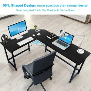 Tribesigns Modern L-Shaped Desk Corner Computer Desk Home Office Wood & Metal