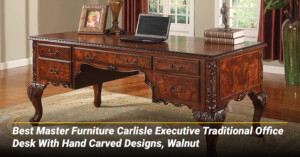 Best Master Furniture Carlisle Executive Traditional Office Desk With Hand Carved Designs, Walnut