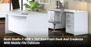 Bush Studio C 60W x 36D Bow Front Desk And Credenza With Mobile File Cabinets