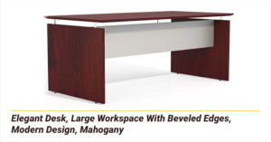 Elegant Desk, Large Workspace With Beveled Edges, Modern Design, Mahogany