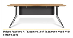 "Unique Furniture 71"" Executive Desk in Zebrano Wood With Chrome Base"