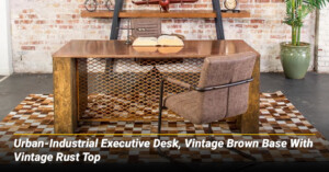 Urban-Industrial Executive Desk, Vintage Brown Base With Vintage Rust Top